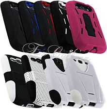for SAMSUNG GALAXY S3 SIII HYBRID IMPACT RESISTANT MESH CASE COVER KICKSTAND NEW