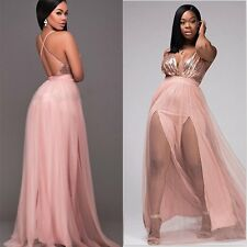 Women Sexy Elegant Long Sequins Formal Prom Evening Party Ball Gown Long Dress