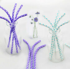 25 pcs Colored Paper Drinking Straws Elbow Bending Small Polka Dot For Party