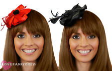 MINI FASCINATOR HAT CAP CLIP WITH FLOWER FEATHER GOTHIC HALLOWEEN FANCY DRESS