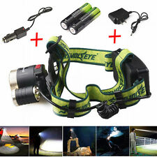 20000LM Headlamp CREE XML 3X T6 LED Headlight Bright Light+AC/Car Charger+18650