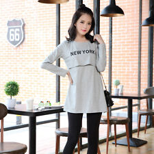 New maternity clothes cotton breastfeeding dress soft women clothes nursing tops