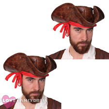 PACK OF CARIBBEAN PIRATE HAT LEATHER LOOK TRICORN MULTI PACK FANCY DRESS LOT