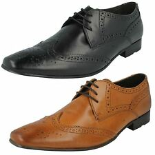 Mens Base London Waxy Leather Lace Up Formal Brogue Shoes Style CHARLES