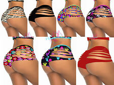 Hot Women's Sexy Stripper Wear Hipster Lingerie Panties Slit Sides Booty Shorts