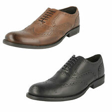 Mens Base London Waxy Leather Lace Up Formal Brogue Shoes Style WALNUT