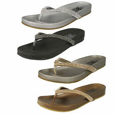 Ladies Down To Earth Slip On Diamante Toe Post Sandals Style F0876