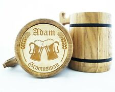 Personalized Groomsmen Gift Wooden Beer Mug Best Man Wood Beer Mugs Engraved K3