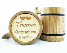 Wooden Beer Mug Personalized Groomsmen Gift Best Man Engraved Wood Beer Mugs K6