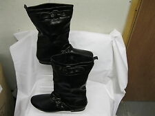 LADIES SPOT-ON MID CALF BLACK SYNTHETIC PULL ON BOOT F4217