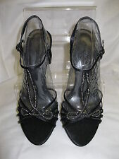 """Ladies Anne Michelle Black Strappy T-Bar Peep Toe Sandals with 4.5"""" Heel L3893AT"""