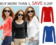 Womens Long Sleeve Stretch Plain Round Scoop Neck T Shirt Top  Rn