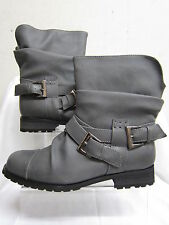 Ladies Spot On Grey Pull On Ankle Boots with Buckle Detail F5602