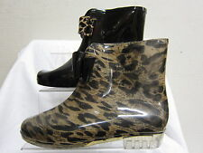 Ladies Unbranded Black & Leopard Ankle Wellies Wellington Boots with Bow X1184