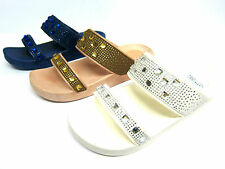 Ladies Spot On Slip on Twin Strap Mule Sandals with Diamante Trim Style F10269