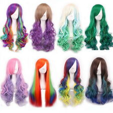 Long Curly Wavy Rainbow Wigs Women's Cosplay Costume Full Wig Party Pink Red AG