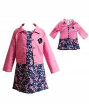 FASHION DRESS WITH DENIM-LOOK JEAN JACKET & FREE DOLL MATCHING OUTFIT