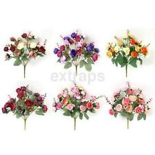 1 Bouquet 21 Heads Artificial Rose Flowers Leaf Home Party Wedding Craft Decor A