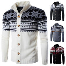 Men's Slim Fit Knitting Jumpers Sweater Cardigan Buttons Front Jacquard Sweaters