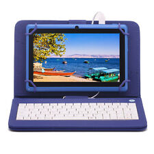 "7"" inch Android 4.4 Quad Core Blue Tablet PC 8GB Dual Camera w/ Keyboard Bundle"