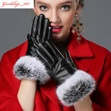 Womens Ladies Black Leather Driving Gloves Winter Warm Rabbit Fur Party Mittens