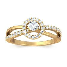 0.27ct FG VS Natural Round Diamond Engagement Womens Ring 14K Yellow Gold
