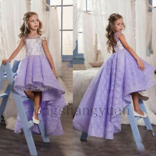 Hi-Lo Lace Applique Flower Girl Dresses Princess Birthday Formal Gowns Pageant