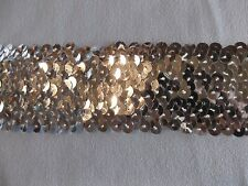 """1.75"""" Wide Silver Stretch Metallic 5 Row Sequin Trim By The Yard"""