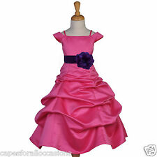 NEW FUCHSIA PURPLE BLACK RED BLUE CHAMPAGNE CORAL GREEN YELLOW FLOWER GIRL DRESS