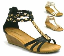 LADIES FLAT SHOES WOMENS STRAPPY GLADIATOR CASUAL SANDALS SIZE 3 4 5 6 7 8