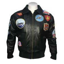 Top Gun Tom Cruise Men Fighter Fur Collar Cow Hide Leather Jacket