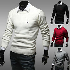 Men Casual Slim Fit Crewneck Knitted Cardigan Pullover Jumper  Sweater Thin Tops