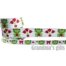 "1""25mm Or 3/8""10mm Frog Printed grosgrain ribbon 5/50/100yards hairbow Wholesale"