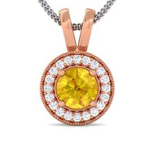 Yellow Sapphire IJ SI Diamond Round Halo Gemstone Pendant Women 10K Gold