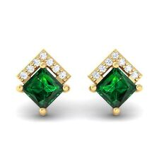 Green Emerald IJ SI Diamonds Princess Gemstone Stud Earrings 18K Gold