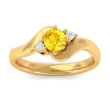 Yellow Sapphire IJ SI Natural Round Diamond Gemstone Ring Women 18K Gold