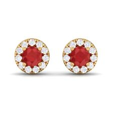 Red Ruby IJ SI Diamond Gemstone Womens Halo Stud Earring 18K Gold