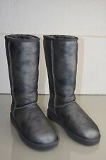 New  UGG Uggs Classic Tall LEATHER Metallic Marble Silver Grey Boots 8 39
