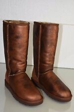 New UGG Uggs Classic Tall LEATHER Metallic Marble Brown Bronze Boots 8 39