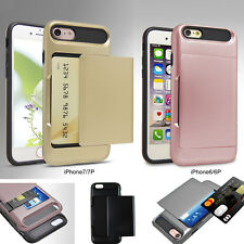 Hybrid Shockproof Slide Card Pocket Wallet Rubber Case Cover for iPhone6 6s7Plus