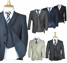 Formal Italian Cut Boys Wedding Prom Suits Grey Black Navy Blue, Page Boy Suits