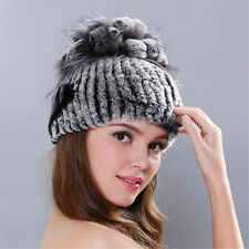 Real Knitted Rex Rabbit Fur Hat Women Rex Rabbit Fur Flower Top Cap