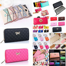 Women Fashion Clutch Leather Long Handbag Ladies Bowknot Wallet Coin Long Purses