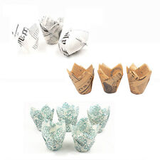 50pcs Tulip Pattern Baking Cups Paper Cupcake Cake Muffin Cases Liners Wrapper
