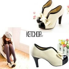 Women Beige Sexy High Heel Tie Platform Bow Pump Fashion Ankle Shoes Boots KECP