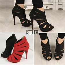 2016  Hot Womens Platform Pump Stiletto High Heels Ankle Boots Sandal Shoes KECP