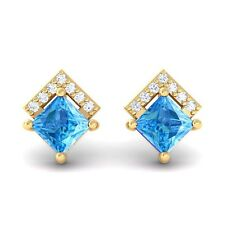 Blue Topaz FG SI Diamonds Princess Gemstone Stud Earrings 18K Gold