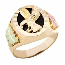 Black Hills Gold eagle onyx ring mens whole & half size 9 10 11 12 13