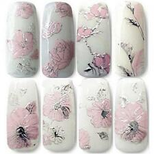Design Manicure Flowers Decal Sheet 3D Nail Art Embossed Stickers