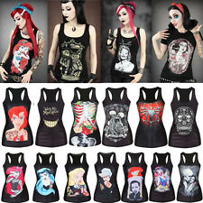 Black Women Sleeveless Vest Tank Top Strech Casual Blouse Punk Rock T-Shirt Tee